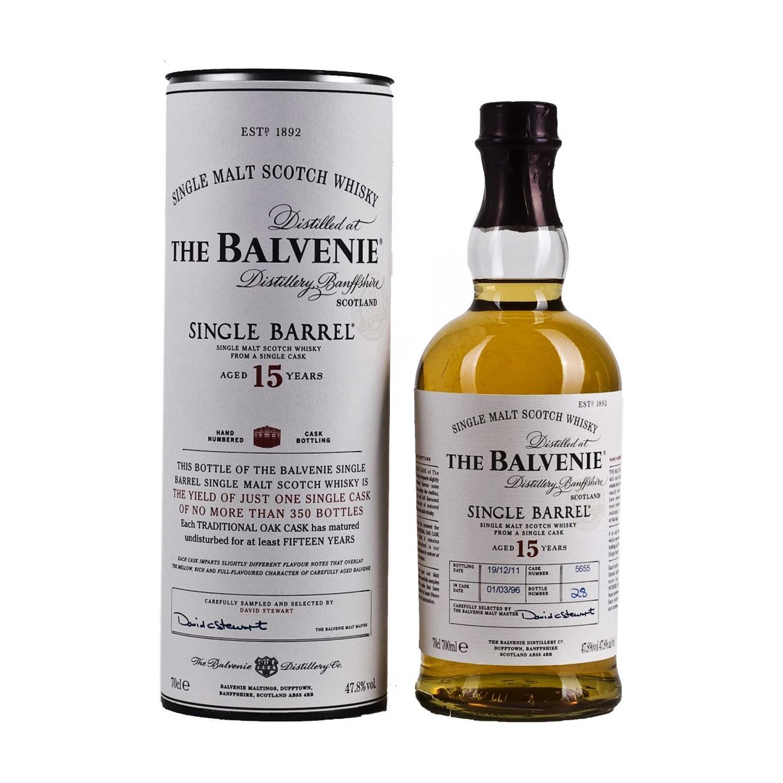 Sehr kunstvoll gestaltet: Die Flasche des Balvenie 15 Single Barrel (Foto: Amazon)