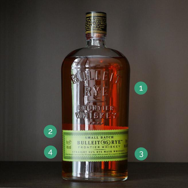 Rye-Whiskey ist eine Variante des amerikanischen Whiskeys mit höherem Roggen-Anteil in der Maische. Was verrät das Etikett des Bulleit Rye noch? (Foto: Malt Whisky)