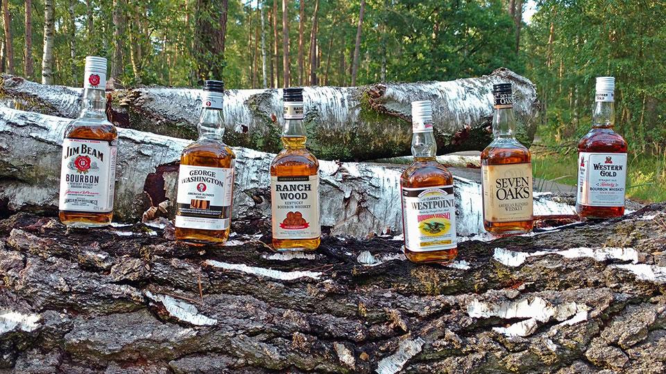 Fünf gegen Jimmy. Die Discounter-Bourbons fordern den Platzhirsch Jim Beam White Label heraus. (Foto: Malt Whisky)