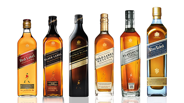 Die verschiedenen Abfüllungen von Johnnie Walker Scotch Whisky (Foto: Hersteller)