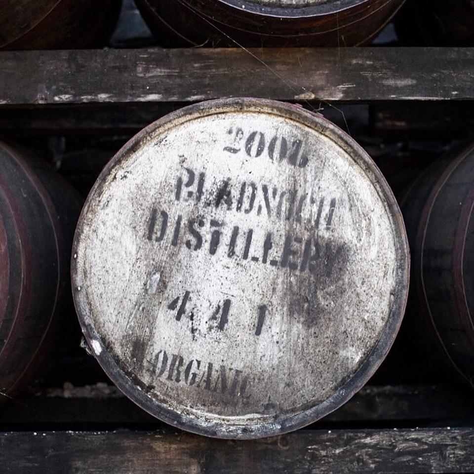 Von Bio-Joghurt zu Bio-Whisky? Ein Fass mit Organic-Aufdruck im Warehouse von Bladnoch (Foto: Hersteller)