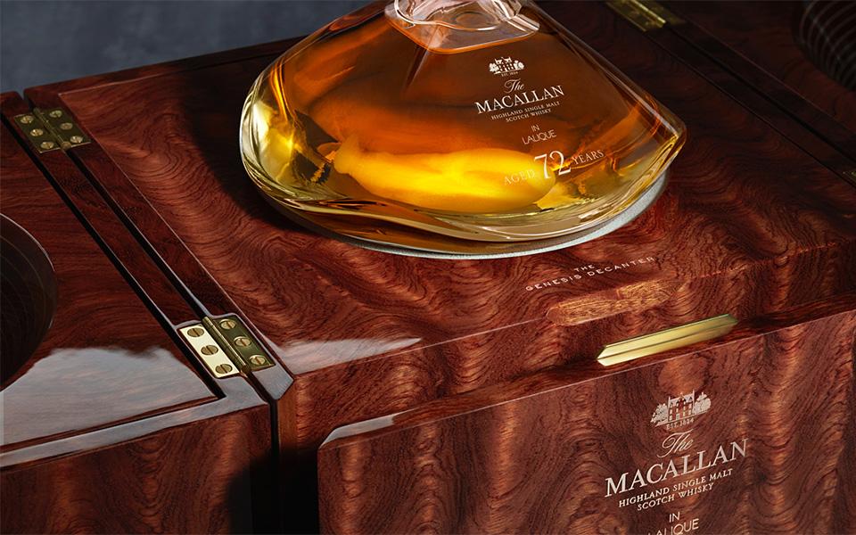 Edelste Materialien umgeben den 72 Jahre alten Macallan Single Malt - eine Flasche für Sammler (Foto: Macallan)