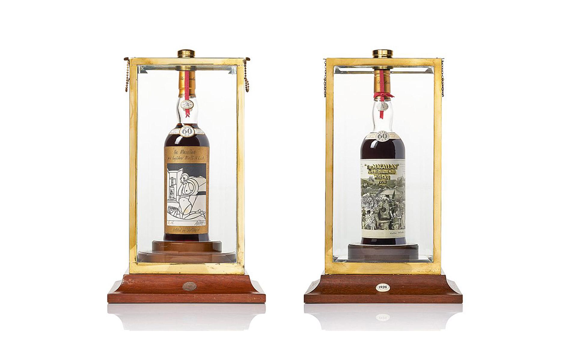 Zwei der teuersten Whiskys der Welt: Der Macallan 1926 wurde von Valerio Adami und Peter Blake gestaltet (Foto: Bonhams)