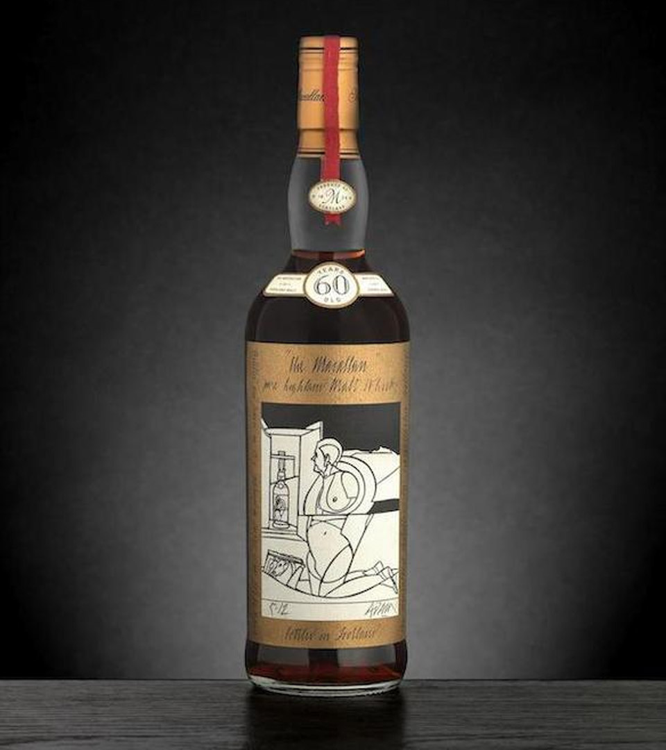 Der aktuell teuerste Whisky der Welt: Ein Macallan 60 Jahre im Design von Valerio Adami (Foto: Bonhams)