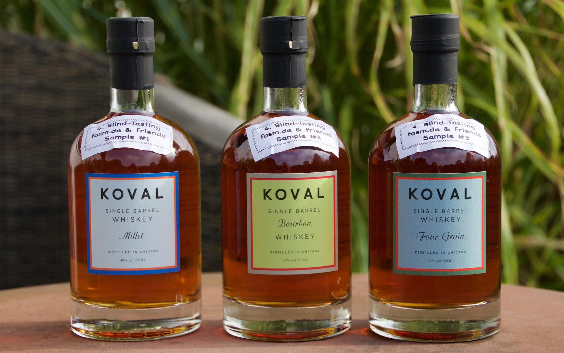 Drei Whiskeys von Koval aus Chicago galt es im Blind-Tasting zu erkennen (Foto: Peter Moser / Fosm.de)